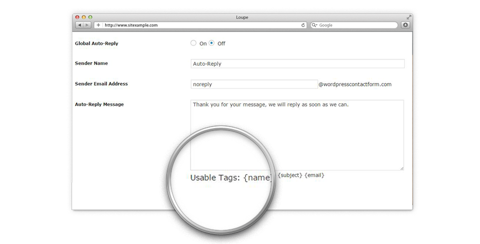 Global AutoReply Setting on WordPress Admin Panel